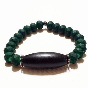 Other - Men's Bracelet Black Wood & Green Faceted Beads